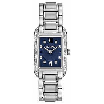 Bulova Women's Diamond Set zwarte wijzerplaat RVS armband 96R211 Watch