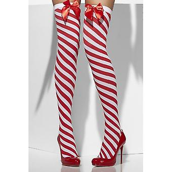 Opaque Hold-Ups, Red & White, Striped with Bows