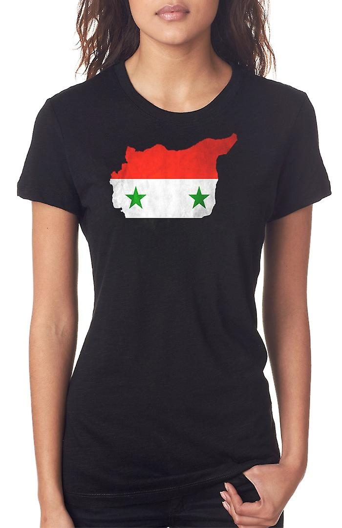 Siria Bandiera Mappa Ladies T Shirt