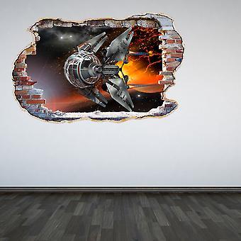 Полный цвет беспилотный разбитые стены 3D эффект стикер стены