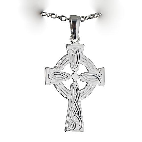 Silver 40x29mm hand engraved knot pattern Celtic Cross with bail on a cable Chain 18 inches