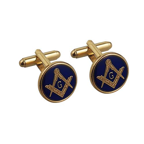 Hard Gold Plated 17mm round cold cure enamel Masonic with 'G' swivel Cufflinks
