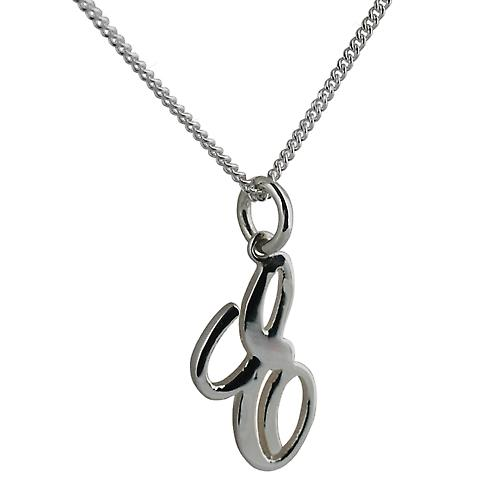 Silver 21x12mm initial E with a curb Chain 24 inches