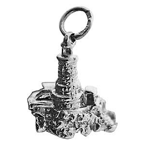 Silver 15x16mm solid Lighthouse and rock Pendant or Charm