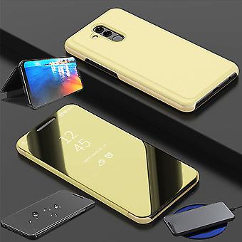 For Huawei honor view 20 / V20 clear view mirror mirror smart cover gold protective case cover pouch bag case new case wake UP function