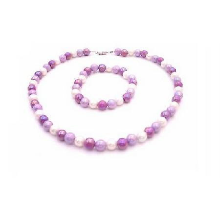 Flower Girl Lavender Purple & White Beads Tricolor Necklace & Bracelet
