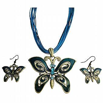 Etnisk Aquamarine Rhinestone grønne blavinge smykker sett
