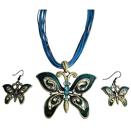 Ethinic Aquamarine Rhinestone Blue Green Butterfly Jewelry Set