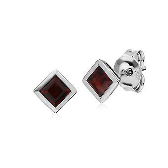 Gemondo Sterling Silver Simple Garnet Bezel Square Stud Earrings