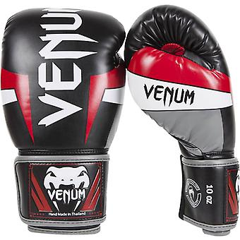 Venum Elite Skintex krok och ögla MMA träning boxningshandskar - svart/vit/röd