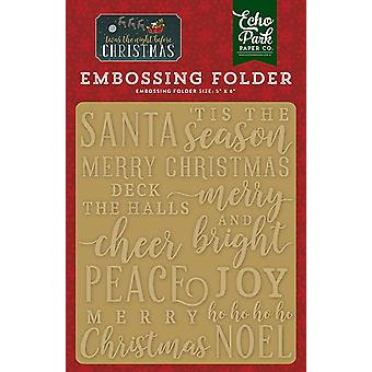 Echo Park Paper Twas The Night Before Christmas Embossing Folder Merry & Bright (TNC134031)