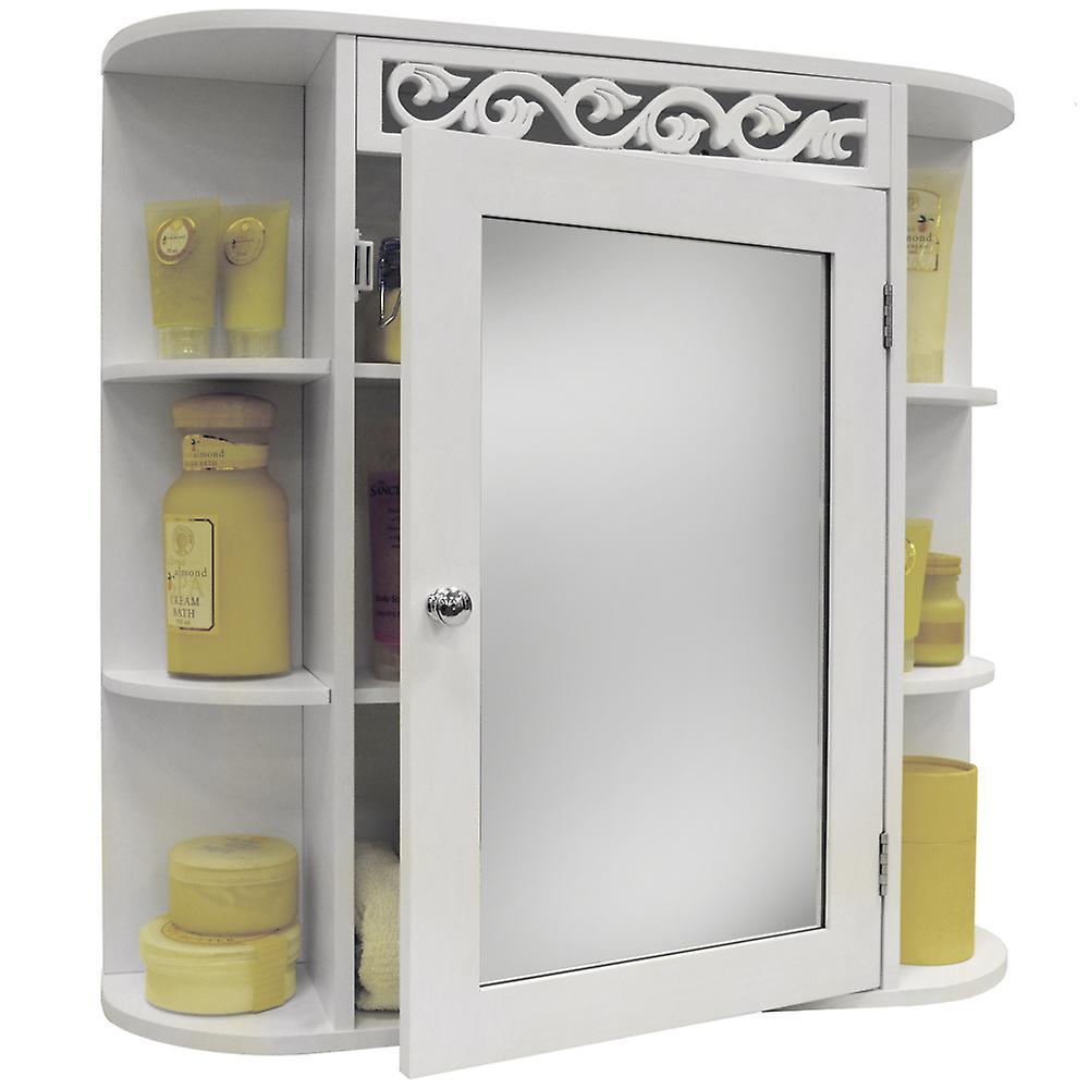 DéfileHommest - mural salle de bain miroir mural meuble de rangeHommest avec étagères - blanc