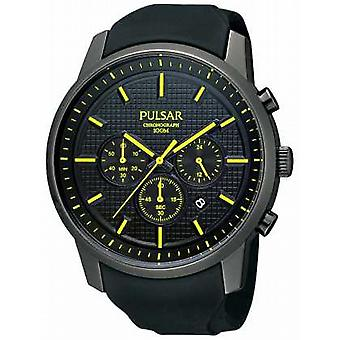 Pulsar Mens Black Ion-Plated Yellow Detail Rubber Strap PT3193X1 Watch