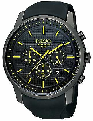 Pulsar heren zwart geel Detail Ion-verguld Rubber Strap PT3193X1 Watch
