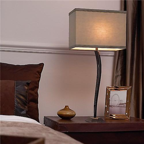 Endon ARINTO Arinto Classic Curved Metal Table Lamp With Rectangular Cotton Shade