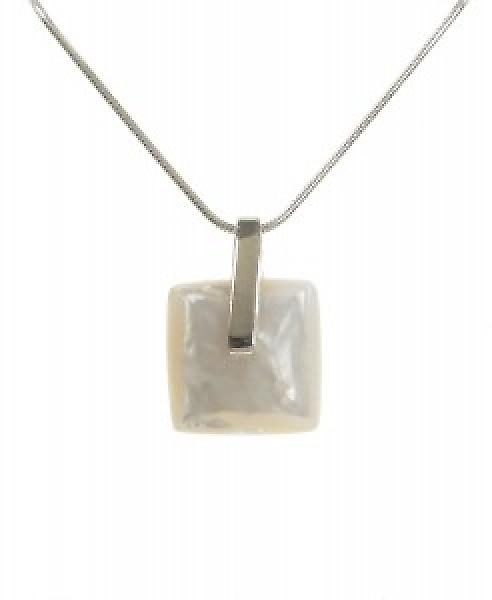Cavendish French Silver and White Mother of Pearl Lozenge Pendant without Chain