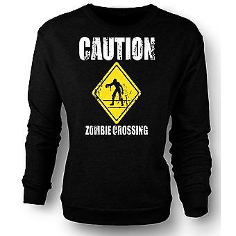 Mens Sweatshirt Zombie Crossing - Funny - Horror