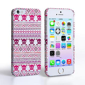 Caseflex iPhone 5and5S Fairisle Case – Pink Skull White Background