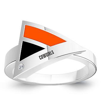 Oklahoma State University Engraved Diamond Geometric Ring In Black And Dark Orange