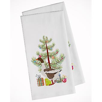 Pommersche Rogener Gans Weihnachten weiß Küche Handtuch Set von 2