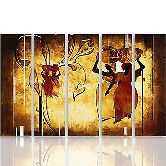 Five Part Picture On Canvas, Pentaptych, Type C, African