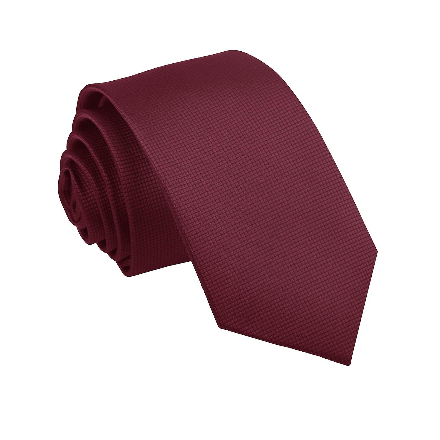Solid Check Burgundy Slim Tie