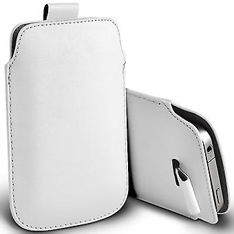 ONX3 (White) Samsung Galaxy Folder 2 SM-G1600 Case High Quality Pouch Sleeve Faux Leather Case Cover with Pull Tab Cord Slip In