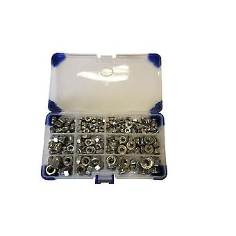 223 Piece M5,M6,M8 Zinc Plated Dome, Full and Flange Nuts