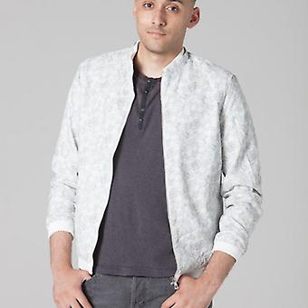 Polar Whites Mens White Patterned Bomber Jacket x : x
