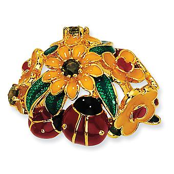 Gold-plated Sterling Silver Enameled Olive CZ Floral Ladybug Ring - Ring Size: 6 to 7
