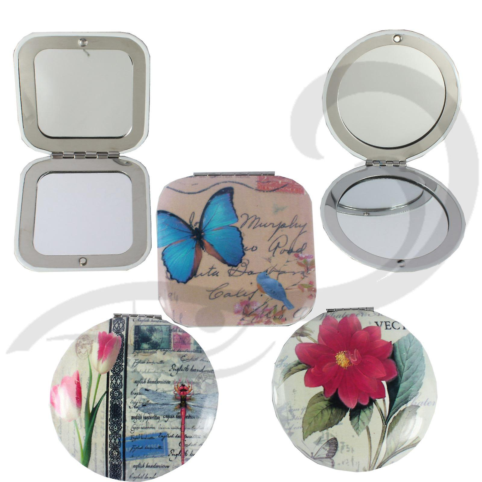 Royal Vintage Chic Travel Compact Make-Up Mirror Pocket & Travel Size