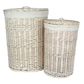 Set of 2 Round White Wash Laundry Basket with a White Lining