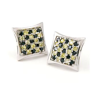 Sterling 925 Silver MICRO PAVE earrings - WAVE 10 mm
