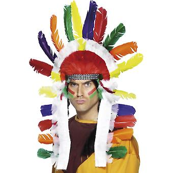Long Indian Chief headdress multicolor