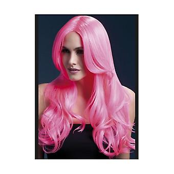 Smiffy's Fever Khloe Wig, 26 Inch / 66cm - Neon Pink