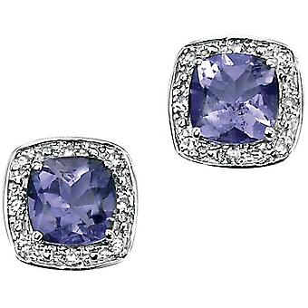 9 CT White Gold Iolite And Diamond Earring