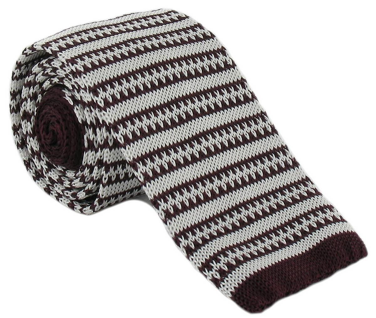Michelsons of London Silk Knitted Patterned Stripe Skinny Tie - Burgundy/White