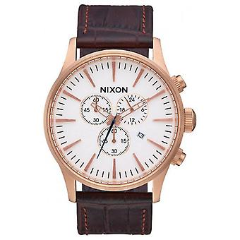 Nixon The Sentry Chrono Leather Watch - Rose Gold/Brown/White