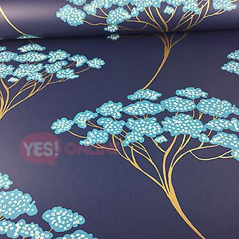 Bonsai Tree Wallpaper Oriental Navy Blue Metallic Shiny Gold Modern Fine Decor