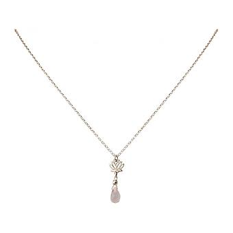 Drops ladies necklace - pendant - 925 Silver - Lotus Flower - Rose Quartz – - Rosa - YOGA - 45 cm