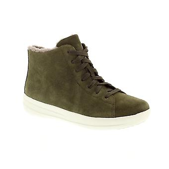 FitFlop F Sporty Sneaker Boot - Camouflage Green Suede Womens Trainers