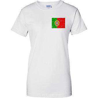 Portugal agobiados Grunge efecto bandera diseño - diseño de pecho de las señoras camiseta