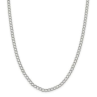 925 Sterling Silver Solid Polished Fancy Lobster Closure Half round Wire Curb Chain Bracelet - 4.5mm - Lobster Claw - Le