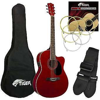 Tiger Electro Acoustic Guitar Package for Beginners - Red