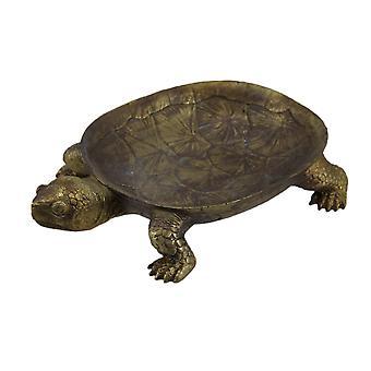 Gold Finish dekorative Schildkröte Herzstück Blattschale