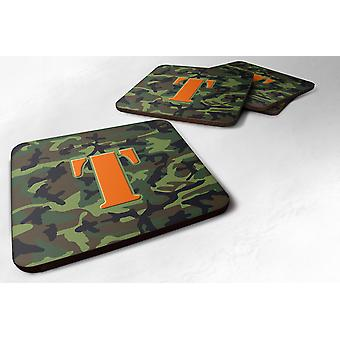 Set of 4 Monogram - Camo Green Foam Coasters Initial Letter T