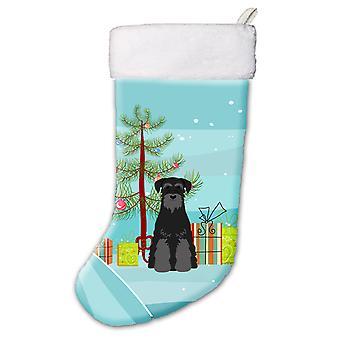 Веселая Рождественская елка Стандартный шнауцер черного Рождественский чулок