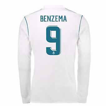2017-18 Real Madrid Long Sleeve Home Shirt (Benzema 9)