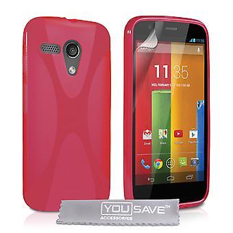 Yousave Zubehör Motorola Moto G Gel X-Line Silikonhülle - rot
