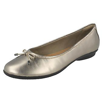 Ladies Clarks Ballerina Flats With Bow Trim Gracelin Blu - Pewter Leather - UK Size 7.5D - EU Size 41.5 - US Size 10M